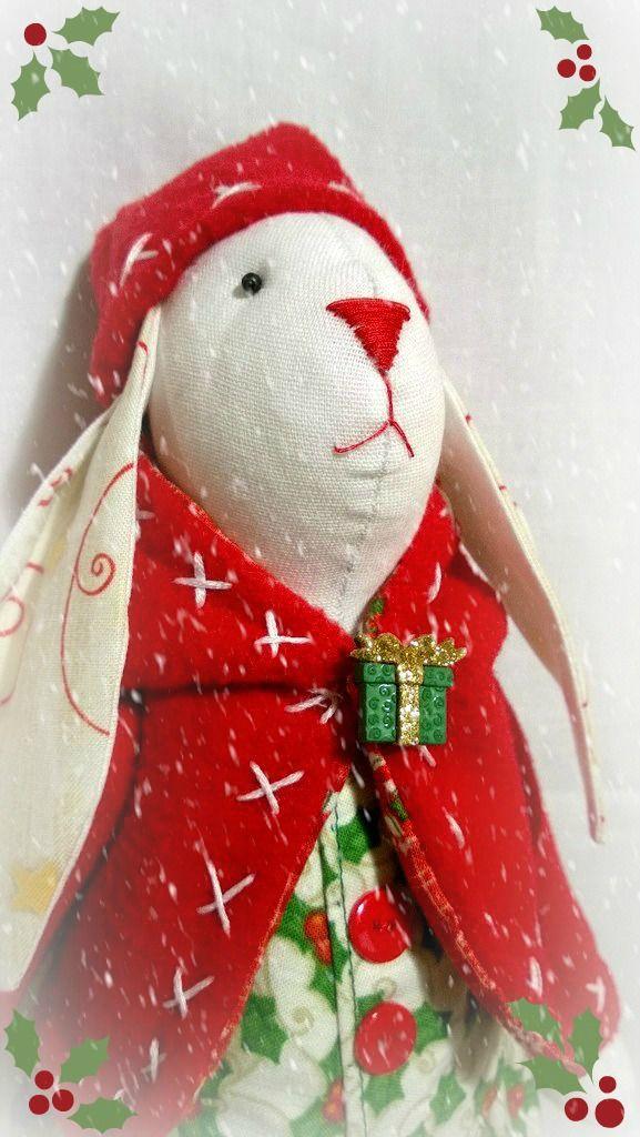"""Новогодний кролик мальчик, новый год, игрушка заяц, игрушка ручной работы,handmade, """"принцесса Надя"""""""