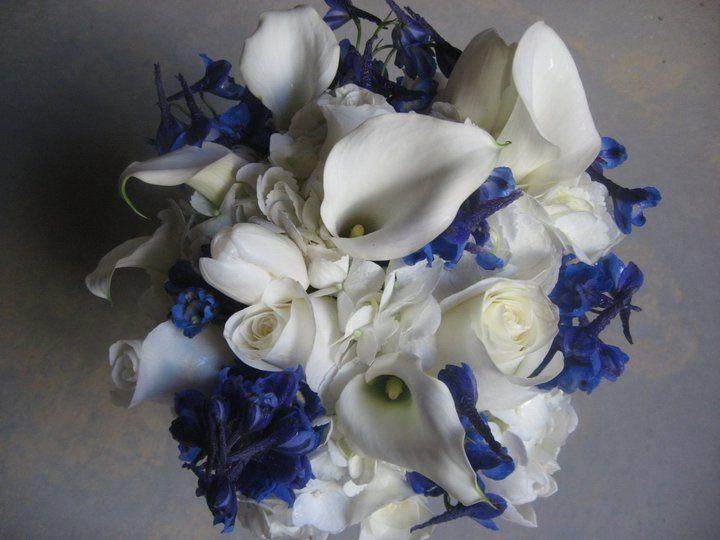 Blue/white wedding boquet