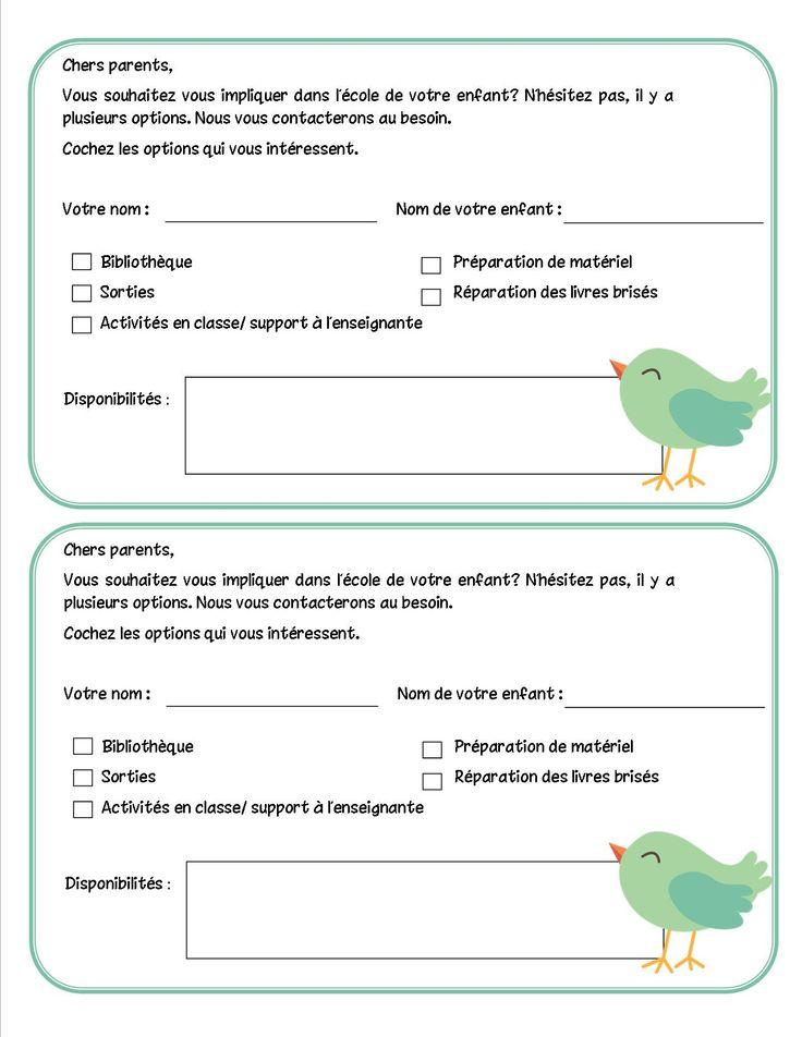 Questionnaire participation des parents