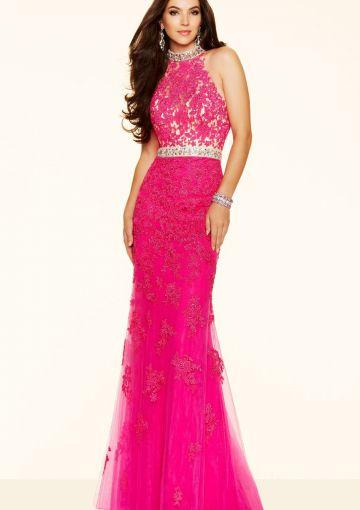 Cheap and Australia 2016 Fuchsia Sheath Halter Neckline Beaded Appliques Organza Floor Length Evening Dress/ Prom Dresses 98056 from Dresses4Australia.com.au