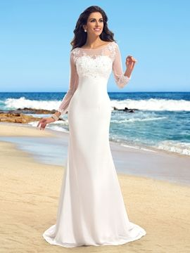I Love This Cute Sheath Liques Long Sleeves Court Train Wedding Dress