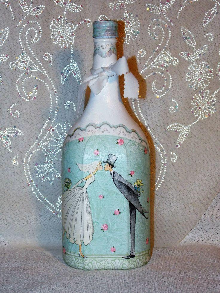 Svadobná fľaša Mladomanželský bozk