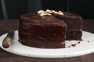 best ever chocolate fudge layer cake (minus the almonds!) - thank you dawn becker for this recipe!