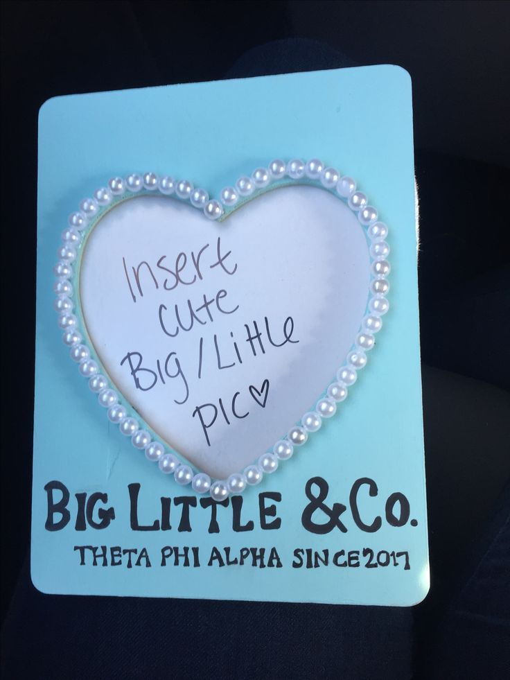 Tiffany & Co frame, picture frame, big little frame, theta phi alpha, big little reveal, pearls, heart, big little & co, sorority craft