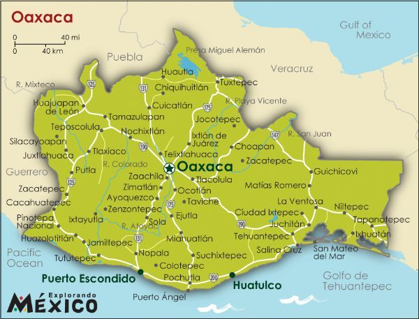 this is where oaxaca is located in mexico with very diverse land it is the largest state in mexico