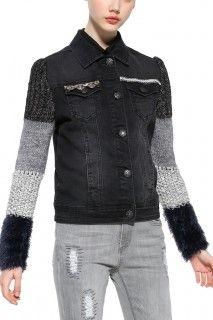Desigual černá džínová bunda Exotic Black - 2999 Kč