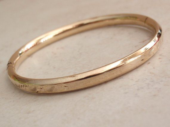 Binder Bros Baby Bangle Bracelet 10k Gold Filled Vacant Cartouche Vintage Bangle Bracelets Bangles Bracelets
