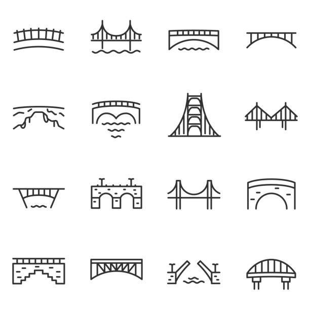 Bridge Icon Set Various Bridges Linear Icons Line With Editable Stroke Bridge Stock Illustrations Clip Art Cartoons Bridge Icon Icon Set Building Icon