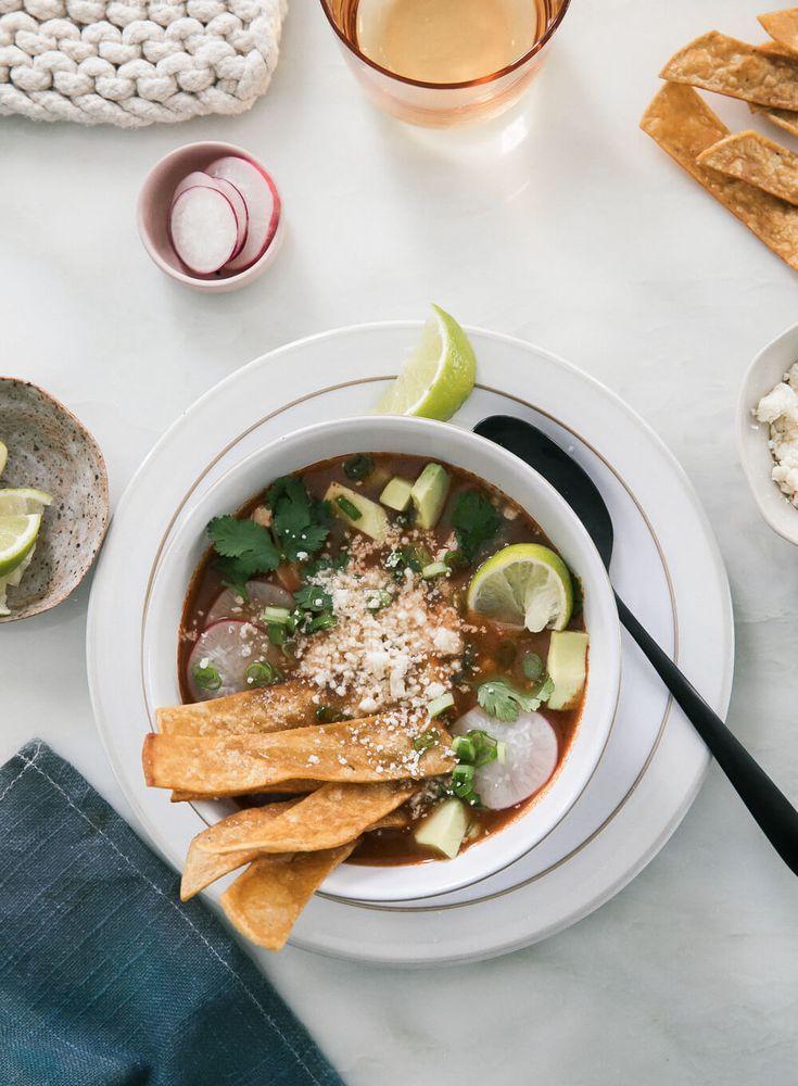 Enchilada Chicken Tortilla Soup / A Cozy Kitchen #soup