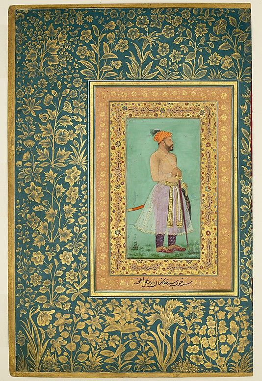 """Portrait of Sayyid Abu'l Muzaffar Khan, Khan Jahan Barha"", Folio from the Shah Jahan Album Painting by Lalchand Calligrapher: Mir 'Ali Haravi (d. ca. 1550) Object Name: Album leaf Date: recto: ca. 1630; verso: ca.1530–50 Geography: India Culture: Islamic Medium: Ink, opaque watercolor, and gold on paper Dimensions: H. 15 5/16 in. (38.9 cm) W. 10 in. (25.4 cm) Classification: Codices Credit Line: Purchase, Rogers Fund and The Kevorkian Foundation Gift, 1955 Accession Number: 55.121.10.5"