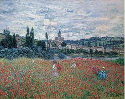 Claude Monet, Campo di papaveri a Vetheuil, 1880, olio su tela, Collezione Bührle, Zurigo