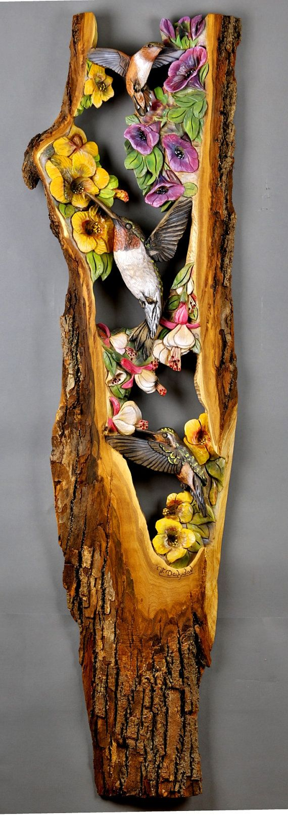 Hummingbirds on Flower Carved Wood Handmade Gift Wall Art by Davydovart Decoration Unique For Home and Cabin Wood with Bark OOAK carving – gzd-fatoş-knk