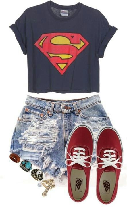 Superman shirt, jean shorts, and vans