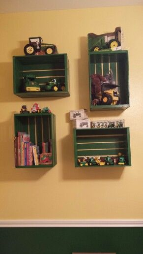 John Deere Nursery Milk Crate shelves.