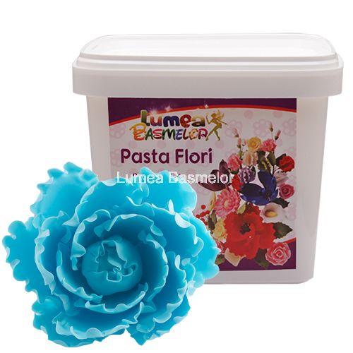 Pasta Flori Lumea Basmelor albastru cer - Fondant (pasta de zahar), martipan - Materii prime decorațiuni pentru torturi, ustensile pentru cofetării