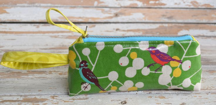 Wristlet-- Green Bird by NelleBushBags on Etsy