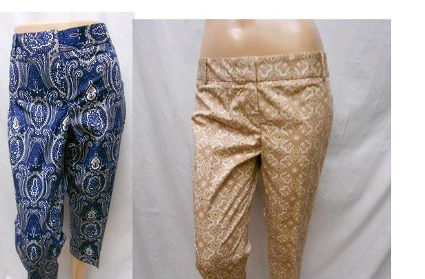 New Talbots Womens Signature Printed Paisley Capri Cropped Stretch Dress Pants #Talbots #CaprisCropped