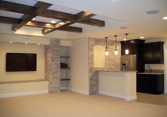 Be nice to have one fancy ceiling for mom....finished basement ideas | Alternate setup with bar | Finished Basement Ideas