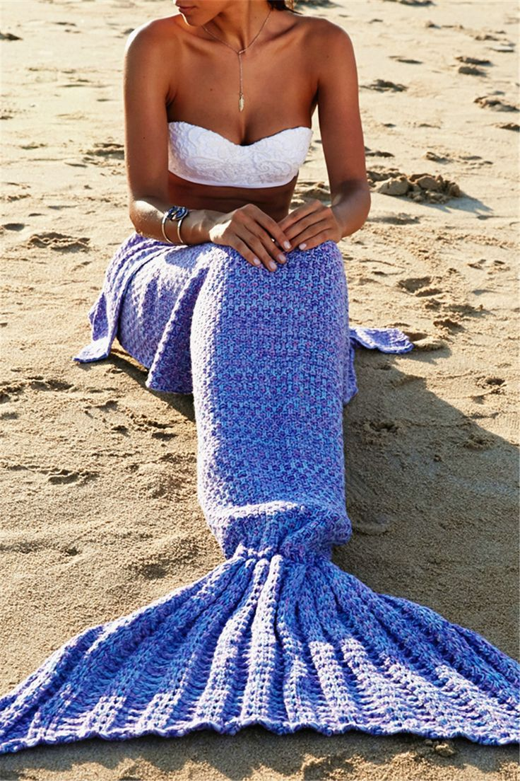 $20.38 Fashionable Comfortable Warmth Wool Knitting Mermaid Shape Blanket