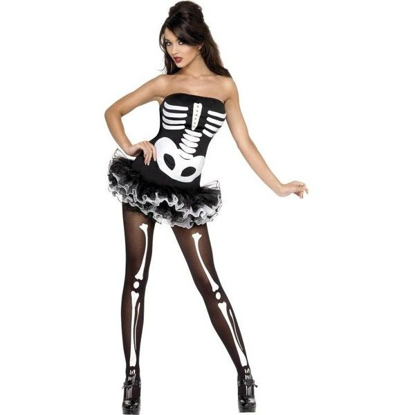 Women Sexy Skeleton Fancy Dress Costume for Halloween The Film Cell ❤ liked on Polyvore featuring costumes, skeleton halloween costume, party halloween costumes, sexy women costumes, ladies halloween costumes y womens costumes
