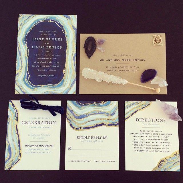 Boho Geode Modern Invitations