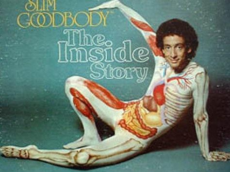 Slim Goodbody, relentlessly cheerful anatomy educator in full-body unitard