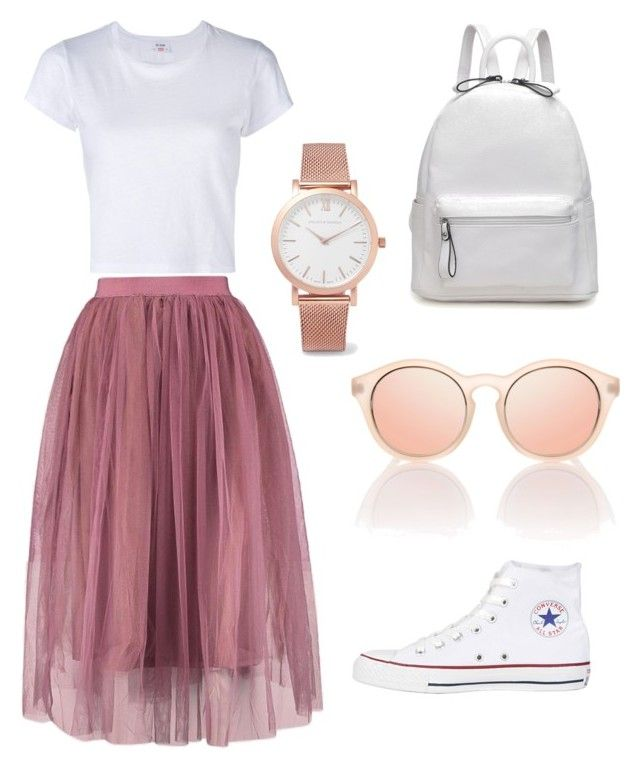 """Tulle skirt is a must"" by an1ban1 ❤ liked on Polyvore featuring Converse, RE/DONE and Larsson & Jennings"