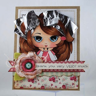 """thank you card for hairstylist by Melyssa Connolly, digi stamp """"Waiting"""" from Whimsie Doodles"""