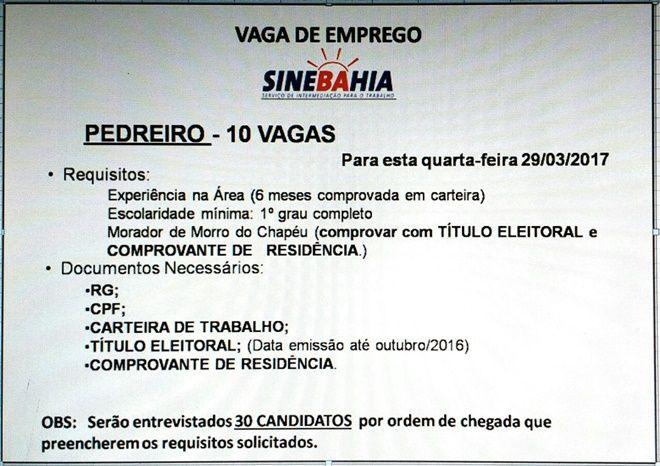SineBahia de Morro do Chapéu tem 10 vagas de pedreiro para esta quarta-feira (29)