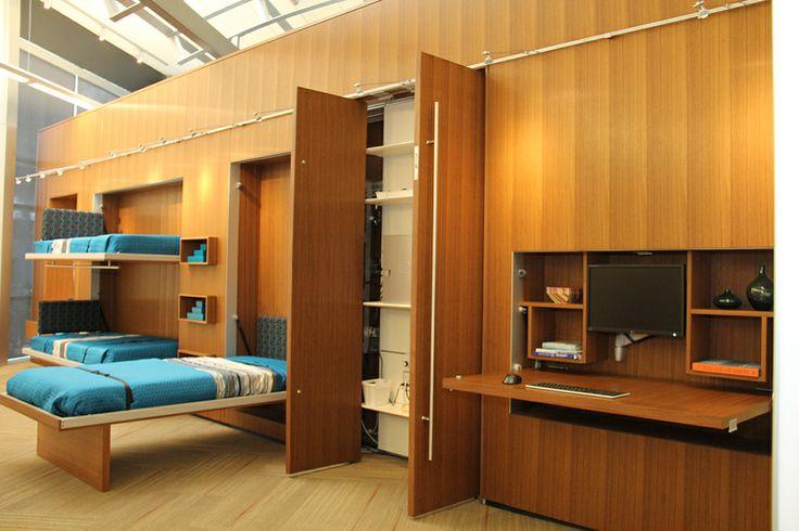 Millwork Built In Wall Bed Hidden Desk Wood Space