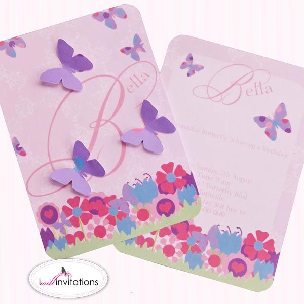 Bella Butterfly childrens party invitation