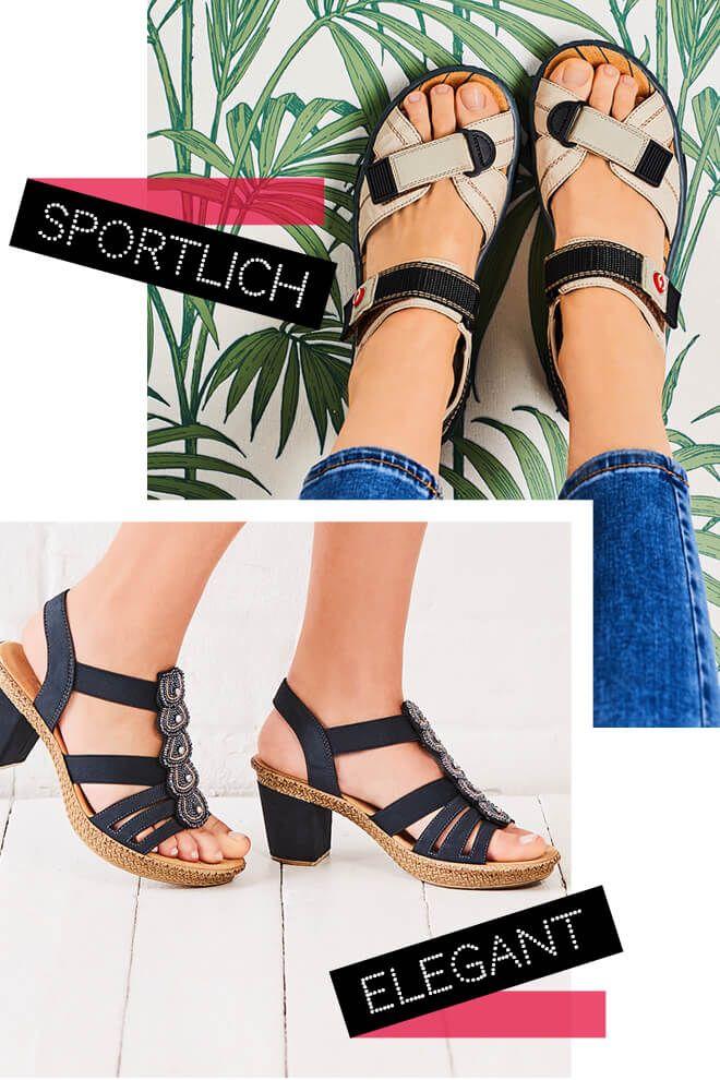 Rieker Damen Sandale 68851 60 Rieker Sandalette Blau 665g8 14 Damenschuhe Sportlich Sportlich Elegant