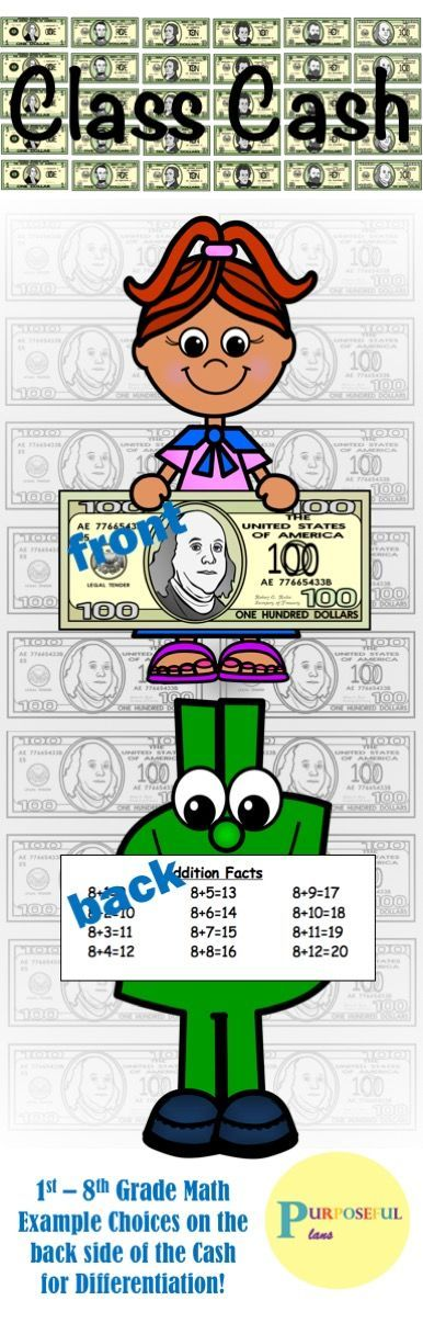 A unique idea for your classroom money! Many students inevitably fidget with things in the classroom. Why not give them math facts and examples to review at the same time? Implement an original classroom economy so that your students can learn while they earn! #Classrooms #Economy #ClassroomManagement #Math #MathFacts #Editable #Elementary #Resources #Tpt #PurposefulPlans