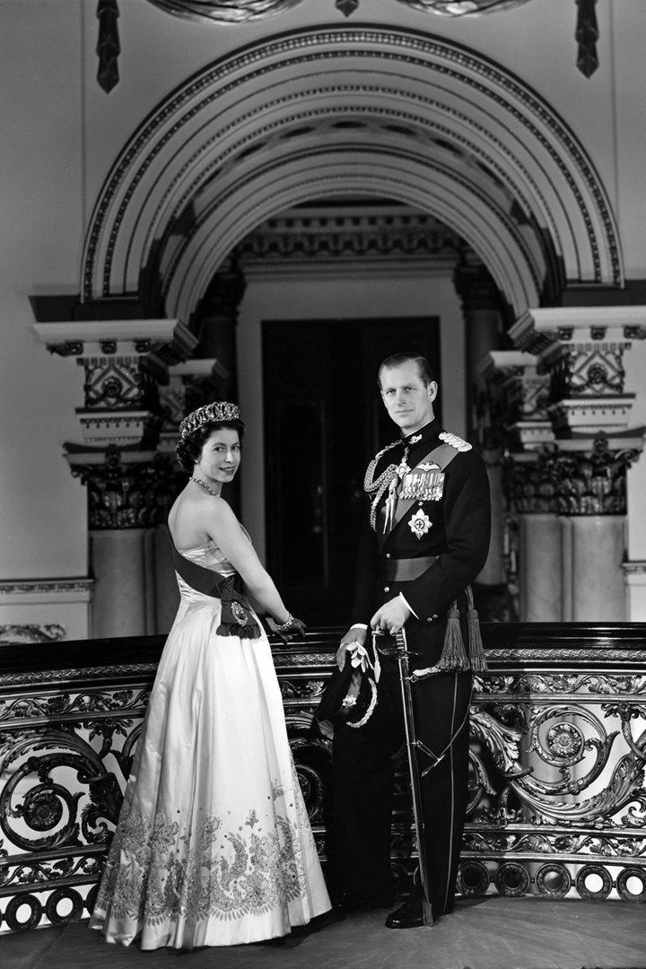 A portrait of the Queen & the Duke of Edinburgh in 1958 at the top of the Grand Staircase of Buckingham Palace