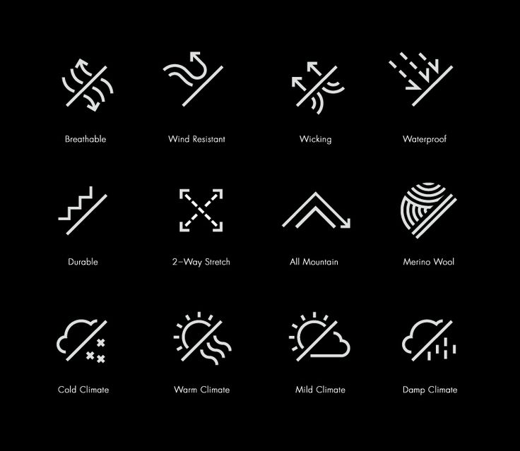 Nice family of icons for a mountain bike wear manufacturer by: www.manualcreative.com