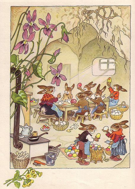 Easter - Fritz Baumgarten Fritz Baumgarten (18th August 1883 - 3 November 1966) was a German illustrator. After training as a lithographer, he studied at the Royal Academies of Arts in Dresden and Munich. He illustrated countless children's books in watercolors. His fantasy world was populated with temperate forest animals, elves and fairies, farm animals, children and teddy bears.