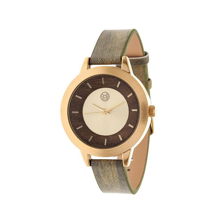 """Earth Wood Goods Watches Earth Wood """"Autumn"""" Goldtone and Wood Dial Watch with Olive Strap"""