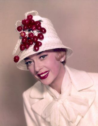"""Can we have fruit turbans? Rosalind Russell publicity photo for """"Auntie Mame""""  1958 Warner Brothers"""