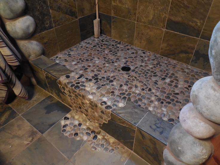 floor of the creekgrotto shower I designed rustic