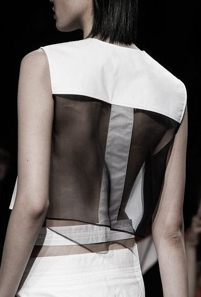 Transparency - sleeveless top with sheer panel; black & white fashion details // Helmut Lang