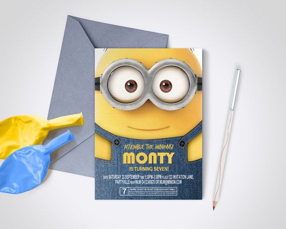 Minion Party Invite  Edit and Print as many by MontyandMeShop