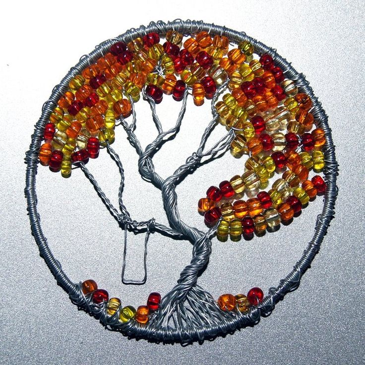 Fall Colors wire wrap Tree of Life pendant by craftymama on DeviantArt. The leaves are falling from this gorgeous tree of life example. All we need now is a child to make use of the swing. Too cute!