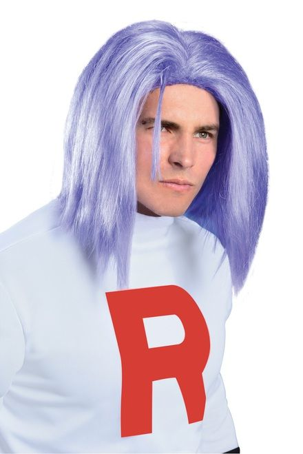 James Pokemon Team Rocket Adult Wig - Get ready for catching Pikachu with this fun James wig from Pokemon! This wig is officially licensed and will go with your Team Rocket costume!  Made with synthetic hair.  Great for Halloween, Comic Con or Expo or when you would like change your look up a bit!