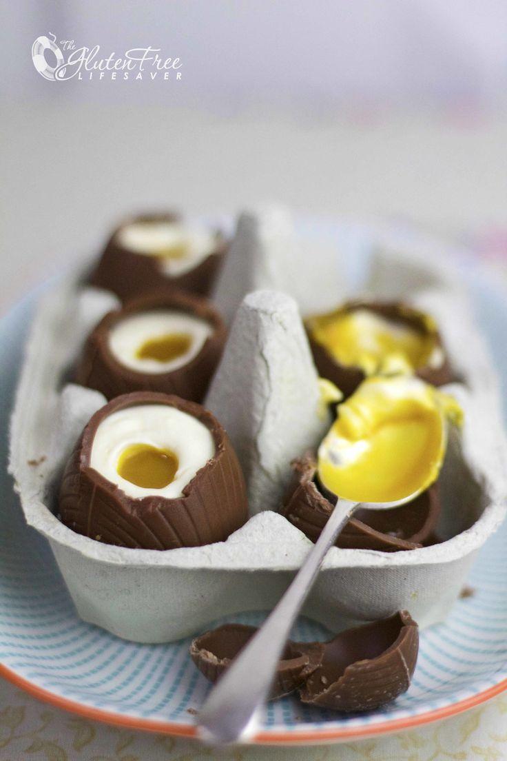 Deilige glutenfri sjokoladeegg med ostekakefyll til påske!
