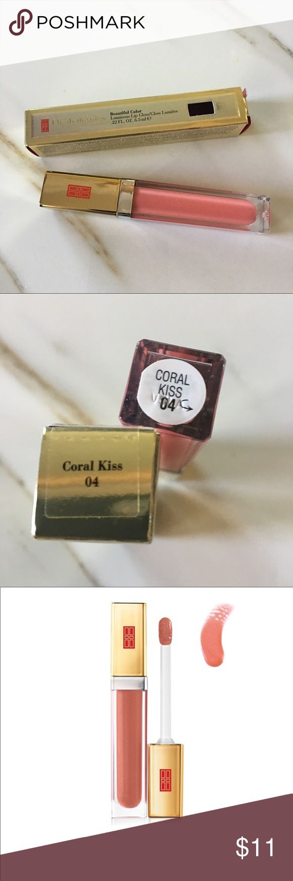 Coral Kiss! Elizabeth Arden Lip Gloss 0.22 fl. oz./65ml each. Each gloss is packaged in a box, new, never opened, never used. Each gloss has a built-in mirror on the side of the tube. Elizabeth Arden Makeup Lip Balm & Gloss