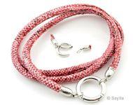 www.sayila.nl - DoubleBeads EasyClip armband/halsketting van imitatieleer koord met slangenprint ± 75cm, ± 5x7mm dik, met brass hanger/tussenzetsel ring sluiting (messing)  ± 25mm, ± 4mm dik - S2991