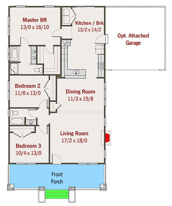 2 Bedroom House Plans With Attached Garage – 2 Bedroom House Plans with Attached Garage
