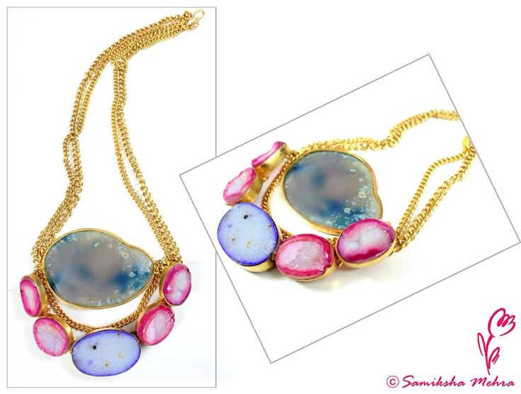 Dress up for an enchating evening with this dreamy #neckpiece in cloudy blue and pink that hides a world of its own. #Colorstones: #Druzy #agates Product code: PBNK166 #Order here: http://bit.ly/buyPnkB