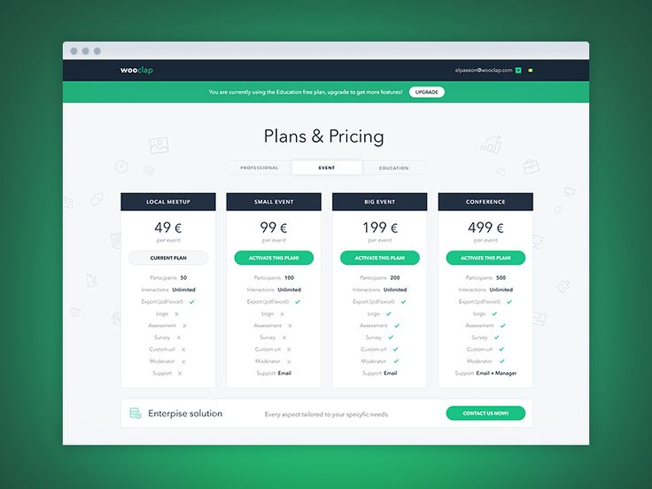 Wooclap - pricing page by EL Passion