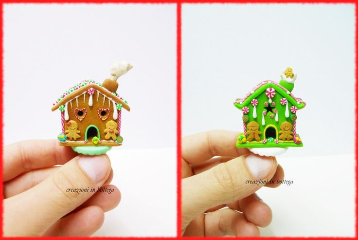 Gingerbread house di colore verde e marrone,realizzate a mano in fimo :)  #gingerbread #gingerbreadhouse #christmas #christmasdecoration #natale #miniatures #dollhouse
